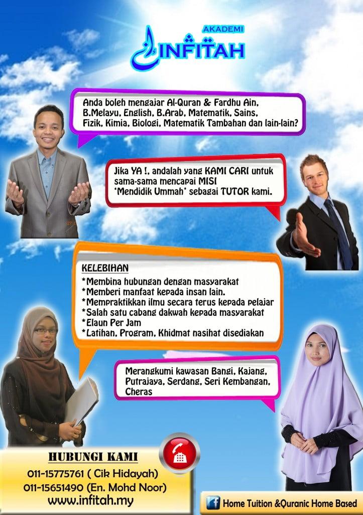 Tutor Home Tuition, Quranic Home Based, Akademi Infitah, belajar di rumah