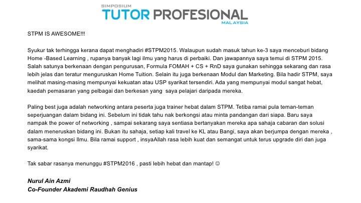 testimoni simposium tutor profesional malaysia stpm