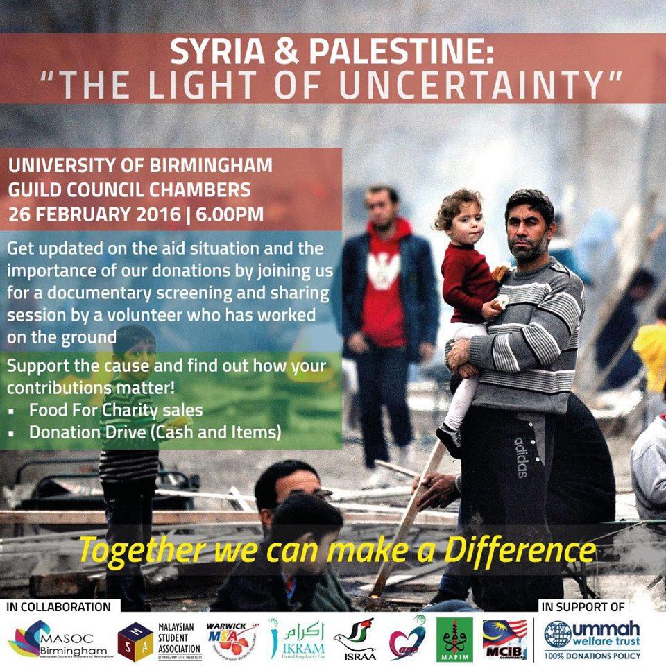 syria & palestine ikram uke mapim masoc birmingham msa warwick msa bcu ummah welfare trust israa institution icare ummah welfare trust